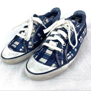 Coach Barrett Canvas Sneakers Blue Tie Up Size 8B